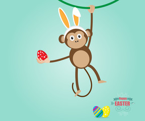Monkey Wearing Rabbit Ears Easter