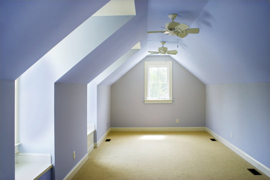 empty attic bedroom