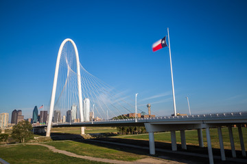 Dallas downtown skyline and Margaret hut hills bridge