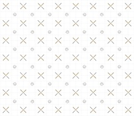 Pattern baseball in 3D. Style a vintage on a white background