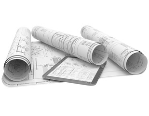 Rolls architectural drawings with the tablet computer on a white background.  Composition in 3D. Black-and-white illustration.