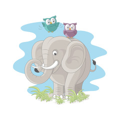 Elephant with cute owls