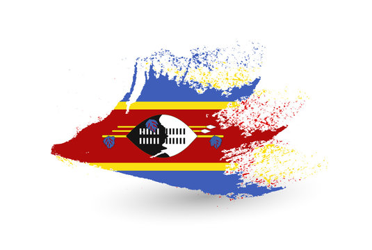 Hand drawn style flag of Swaziland