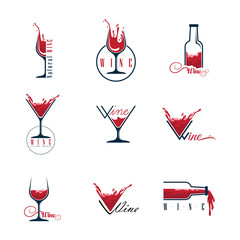Wine  set icons