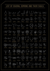 Vector linear witchcraft  poster with demon sigils