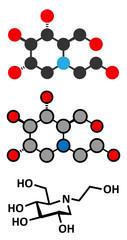 Miglitol diabetes drug molecule.