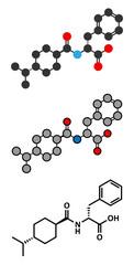 Nateglinide diabetes drug molecule.