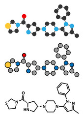 Teneligliptin diabetes drug molecule.