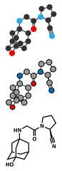 Vildagliptin diabetes drug molecule.