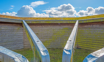 Drainpipes of a wooden shed