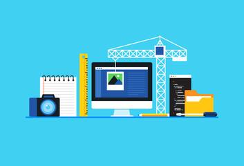 Web development . Flat design modern vector illustration concept.