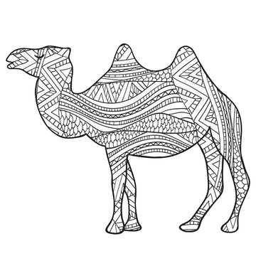 camel Black and white doodle print with ethnic patterns.