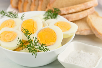 boiled eggs in  white dish