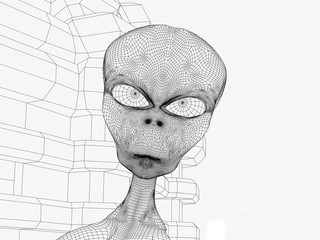 digitally rendered black and white line art illustration of a mesh illustration of a space alien