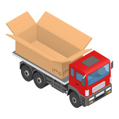 Isometric red cargo truck with cardboard box