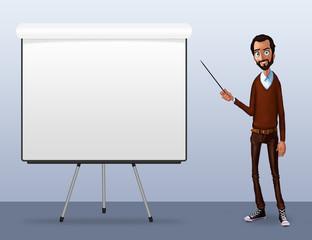 Business speech near the flip chart