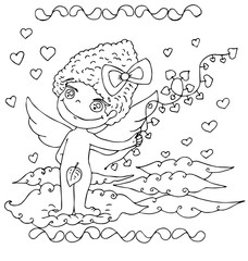 the hand drawn angel with decorative frame outline for coloring isolated on the white background