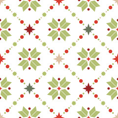 Vector seamless pattern of geometric snowflakes. Nordic pattern