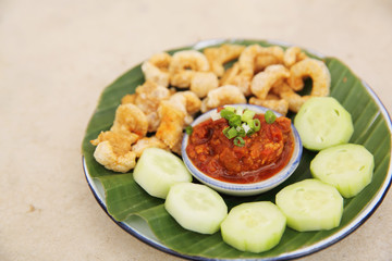 Thai Food appetizer Nam Prik Aong Thai Northern Style Pork and T
