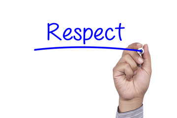 Business concept Hand writing Respect on visual screen