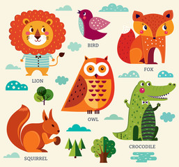 Set of illustration in cartoon style with funny animals and birds