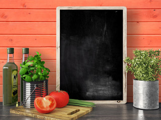Empty black chalkboard, 3D render