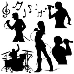 musicians rock band singer silhouettes performance vector