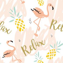 Blush pink flamingo, pineapples and message Relax on the white background with pastel strokes. Vector seamless pattern with tropical bird and fruit.
