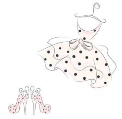 Gentle dress vector. Fashion & Style. Fashion sketch. polka-dot dress.