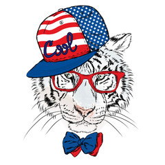 Vector tiger wearing glasses and a cap. Hipster. Greeting card with a tiger. Rap. Hip-hop.