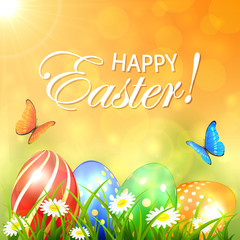 Abstract spring background with colored Easter eggs