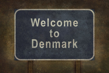 Welcome to Denmark roadside sign illustration