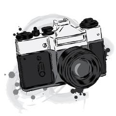 Vintage camera vector. Poster. Card.