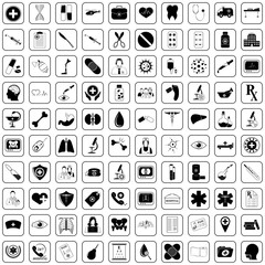 Medical 100 icons set for web and mobile