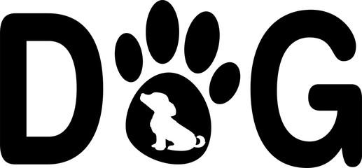 Концепция логотип лапа собаки собака надпись