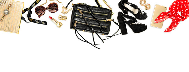 Hero header. Fashion accessories, cosmetics, bag, shoes