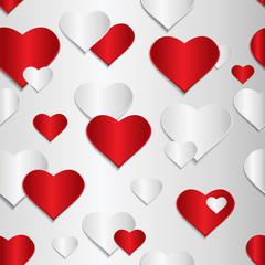 Red and gray heart Valentine day. Volume vector illustration.
