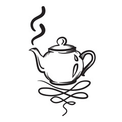 Teapot vector hand drawn illustration. Teapot icon.