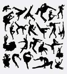 Dance male and female bundle silhouette 1. Good use for symbol, logo, web icon, mascot, avatar, sticker, or any design you want. Easy to use