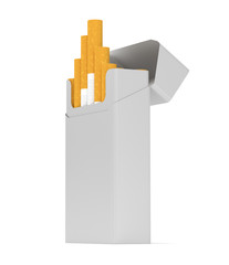 open pack of cigarettes with rounded corners on white background