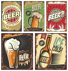 Retro beer vector signs set