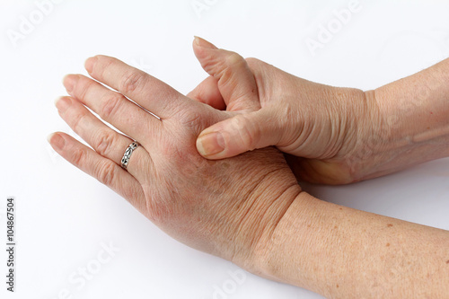 Schmerzen in Händen und Fingern Stockfotos und