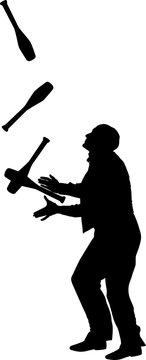 juggler with maces,silhouette