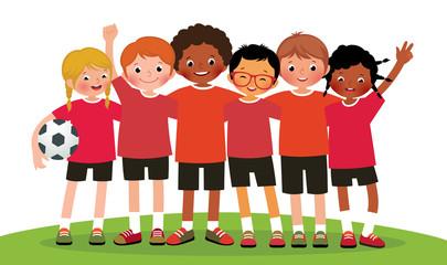 Stock vector illustration international group kids soccer team o