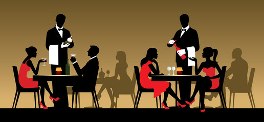 Silhouettes of people sitting at tables in a restaurant or night