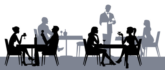 Fototapeta Silhouettes of people sitting at the tables in the restaurant or obraz