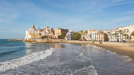 The beautiful town of Sitges, Spain in a sunny spring day