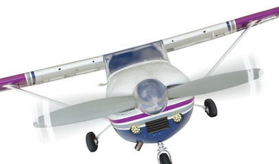 Front of Cessna 172 Single Propeller Airplane On White