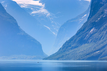 Fototapete - Lovatnet lake, Norway, Panoramic view