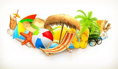 Summer, beach set, vector illustration